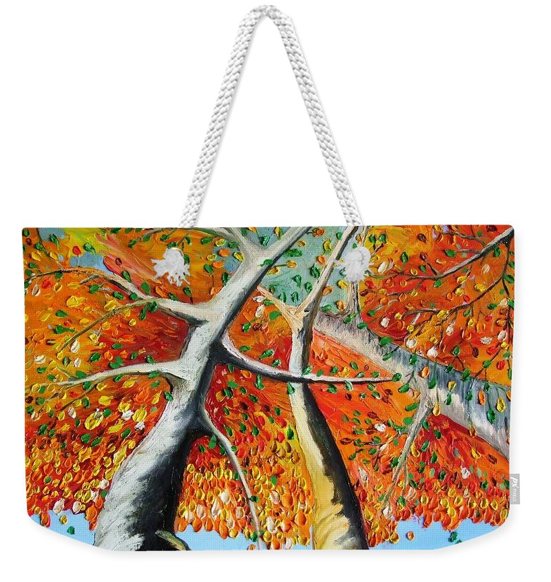 Landscape Weekender Tote Bag featuring the painting Fiery Trees by Alfie Borg