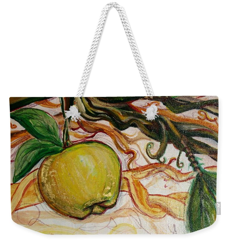 Apple Weekender Tote Bag featuring the painting Fifth World Five by Kate Fortin