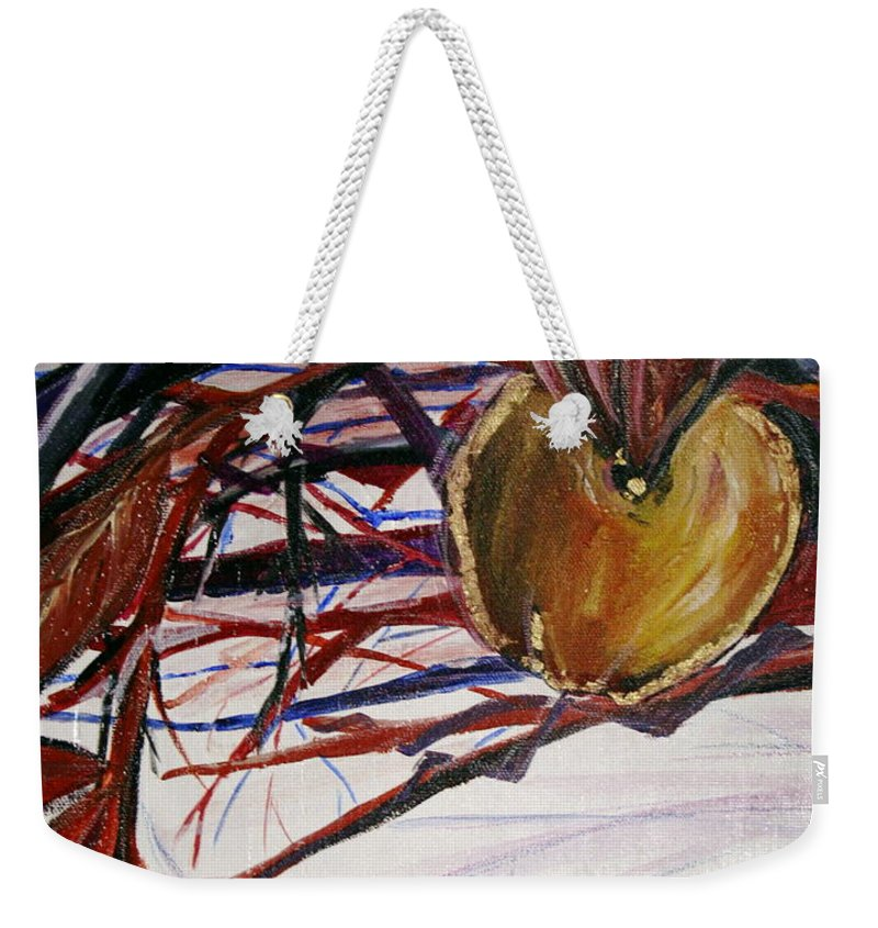 Apple Weekender Tote Bag featuring the painting Fifth World One by Kate Fortin