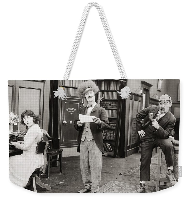 -nec11- Weekender Tote Bag featuring the photograph Film Still: Sleuths, 1919 by Granger