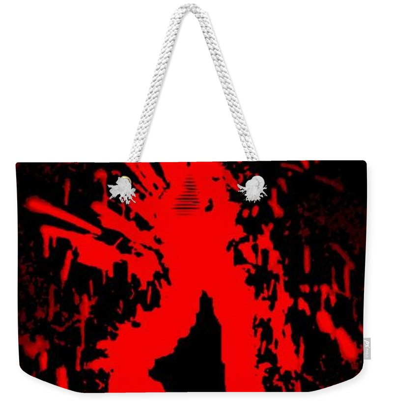 Flames Weekender Tote Bag featuring the painting Fire Dance by George Pedro