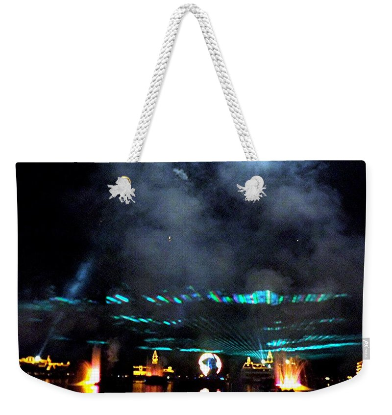 Epcot Weekender Tote Bag featuring the digital art Fire Earth Water Meet Lasers by Barkley Simpson
