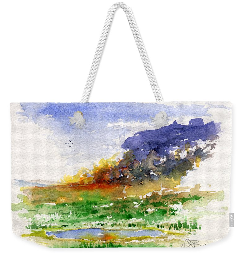 Fire Weekender Tote Bag featuring the painting Fire On The Pond by John D Benson