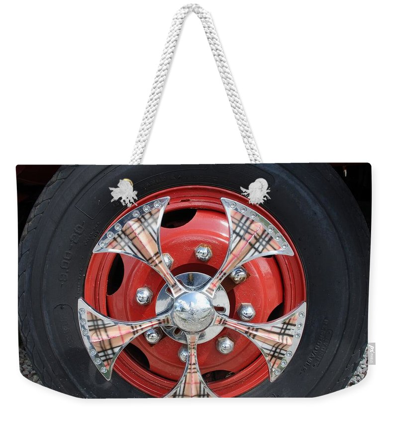 Tires Weekender Tote Bag featuring the photograph Fire Truck Spinners by Rob Hans