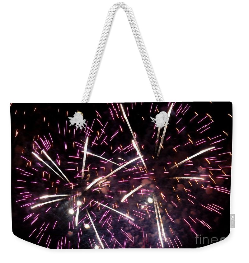 Opsail Weekender Tote Bag featuring the photograph Fireworks Number 5 by Meandering Photography