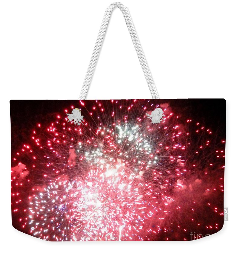 Opsail Weekender Tote Bag featuring the photograph Fireworks Number 7 by Meandering Photography