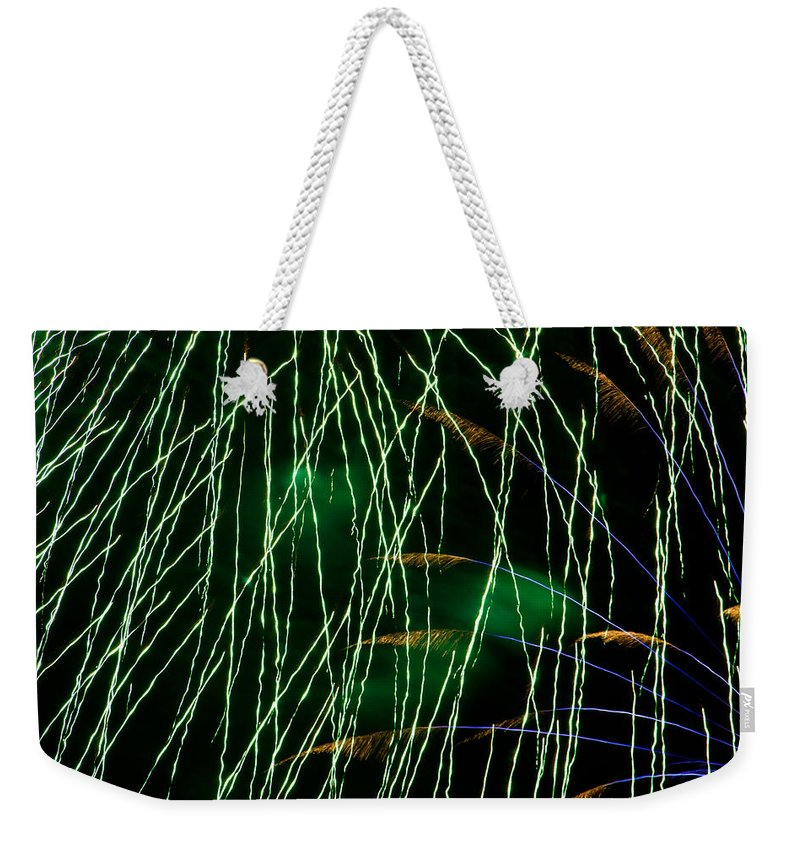 Fireworks Weekender Tote Bag featuring the photograph Fireworks Up Close by Bill Lindsay