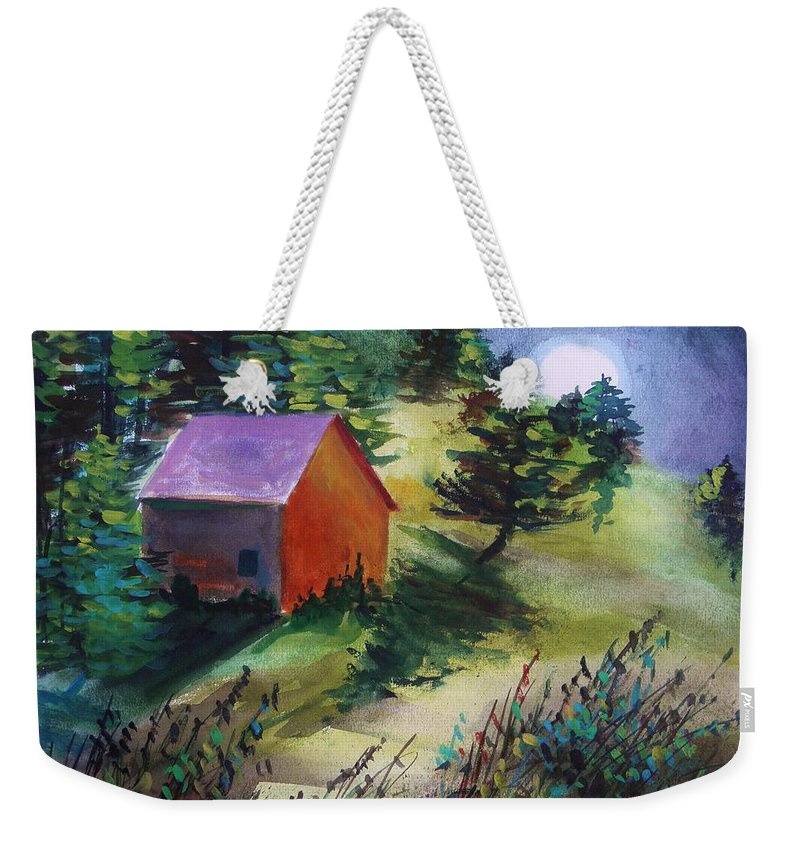 Watercolor Weekender Tote Bag featuring the painting First Full Moon Night by John Williams