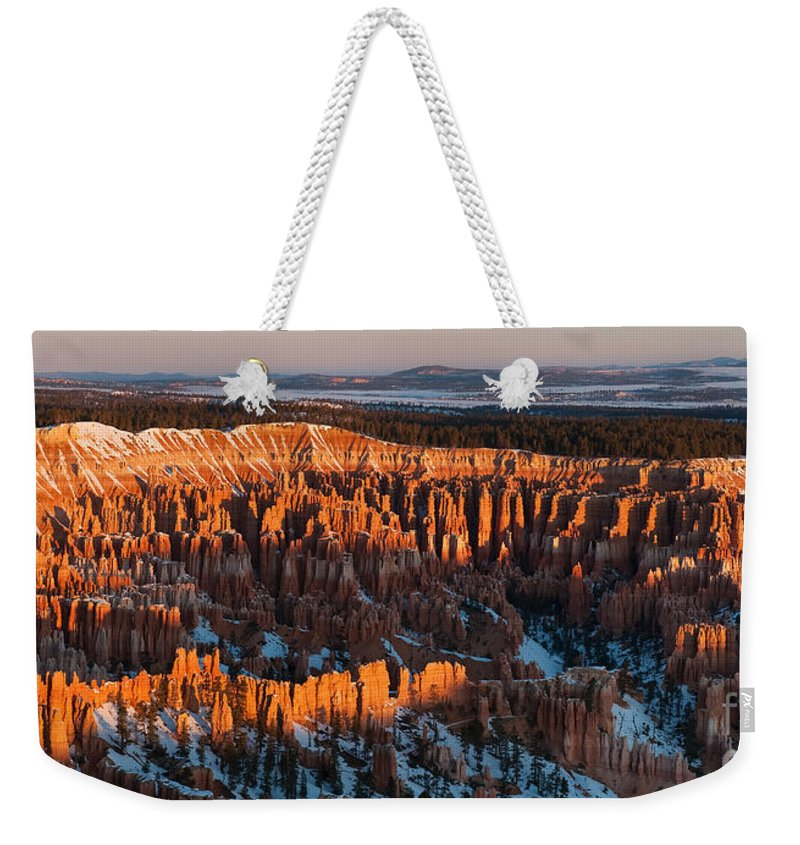 Bronstein Weekender Tote Bag featuring the photograph First Light At Bryce Canyon by Sandra Bronstein