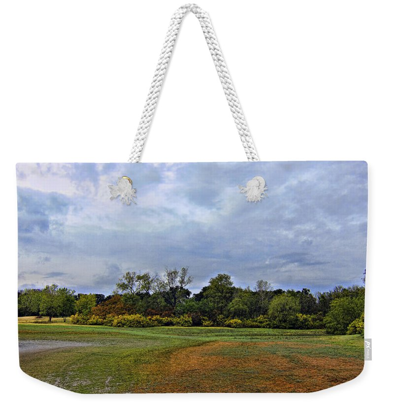 First Rain Of Fall-lewisville Lake Dfw Weekender Tote Bag featuring the photograph First Rain Of Fall by Douglas Barnard
