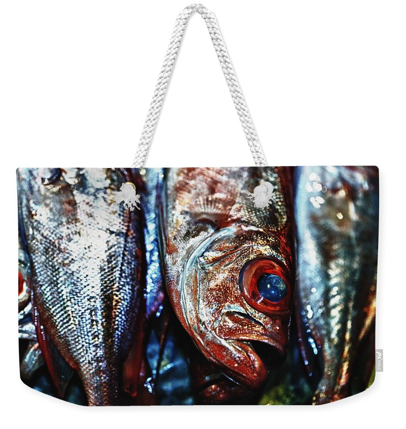 Abstract Weekender Tote Bag featuring the photograph Fresh Fish At The Market by Skip Nall