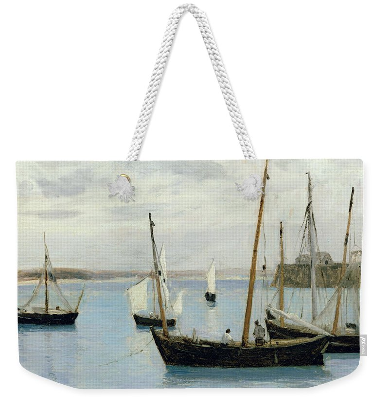 Granville Weekender Tote Bag featuring the painting Fishing Boats by Jean Baptiste Camille Corot