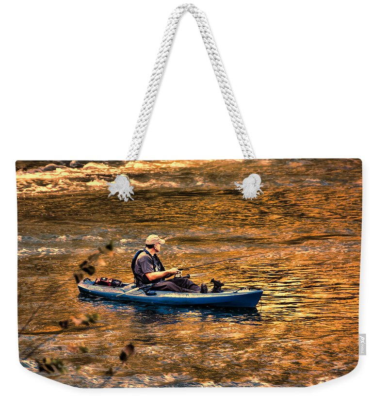 Fishing Weekender Tote Bag featuring the photograph Fishing The Golden Hour by Steven Richardson