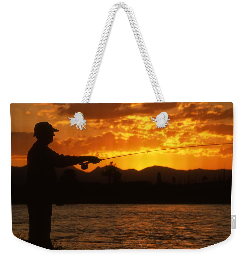 Fishing Weekender Tote Bag featuring the photograph Fishing The Madison by Max Waugh