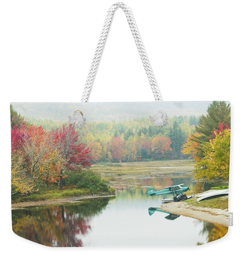 Airplane Weekender Tote Bag featuring the photograph Float Plane On Pond Near Golden Road Maine Photo Poster Print by Keith Webber Jr