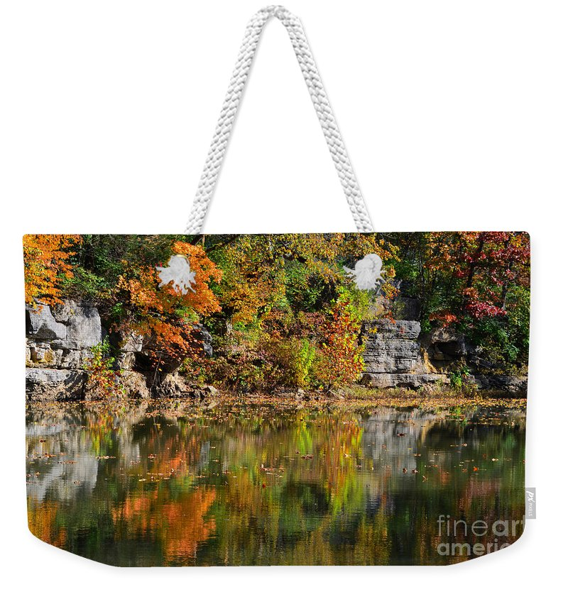 Landscape Autumn Weekender Tote Bag featuring the photograph Floating Leaves In Tranquility by Peggy Franz