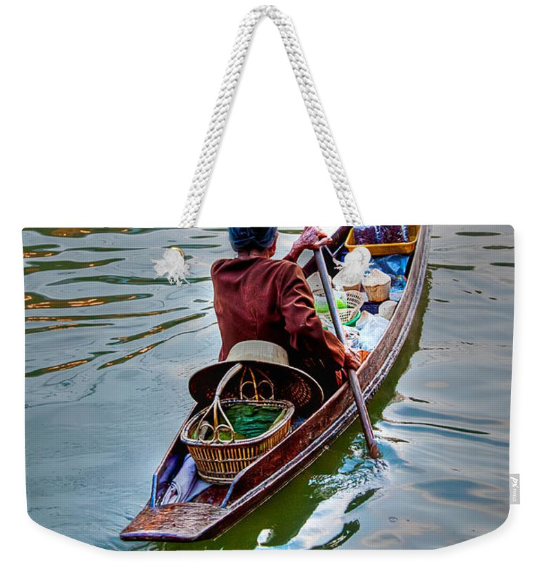 Amphawa Weekender Tote Bag featuring the photograph Floating Market by Adrian Evans