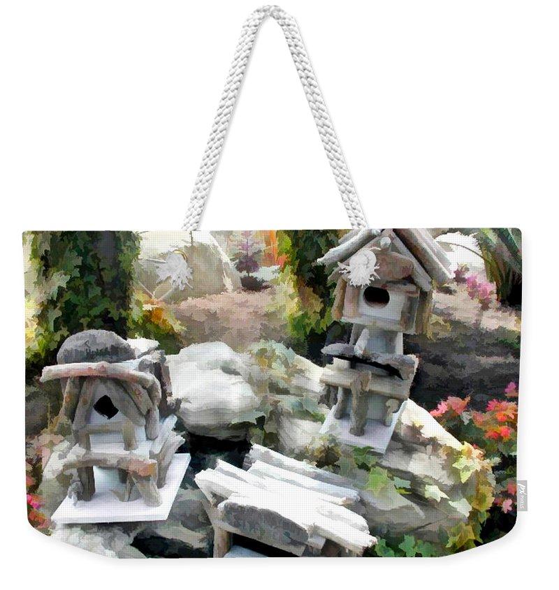 Weekender Tote Bag featuring the painting Flock Of Rustic Birdhouses by Elaine Plesser