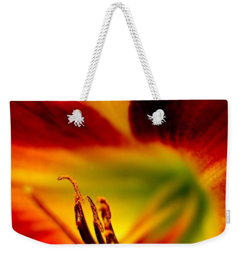 Intense Weekender Tote Bag featuring the photograph Floral Macro Of A Blossom by Floyd Menezes