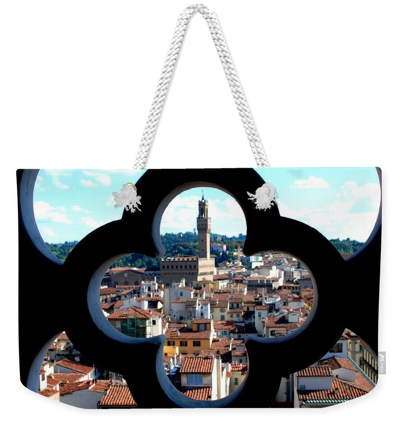 Florence Weekender Tote Bag featuring the photograph Florence Through A Unique Lens by Dany Lison