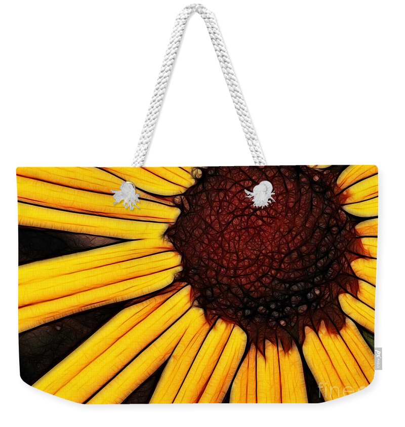Flower Weekender Tote Bag featuring the photograph Flower - Yellow And Brown - Abstract by Paul Ward