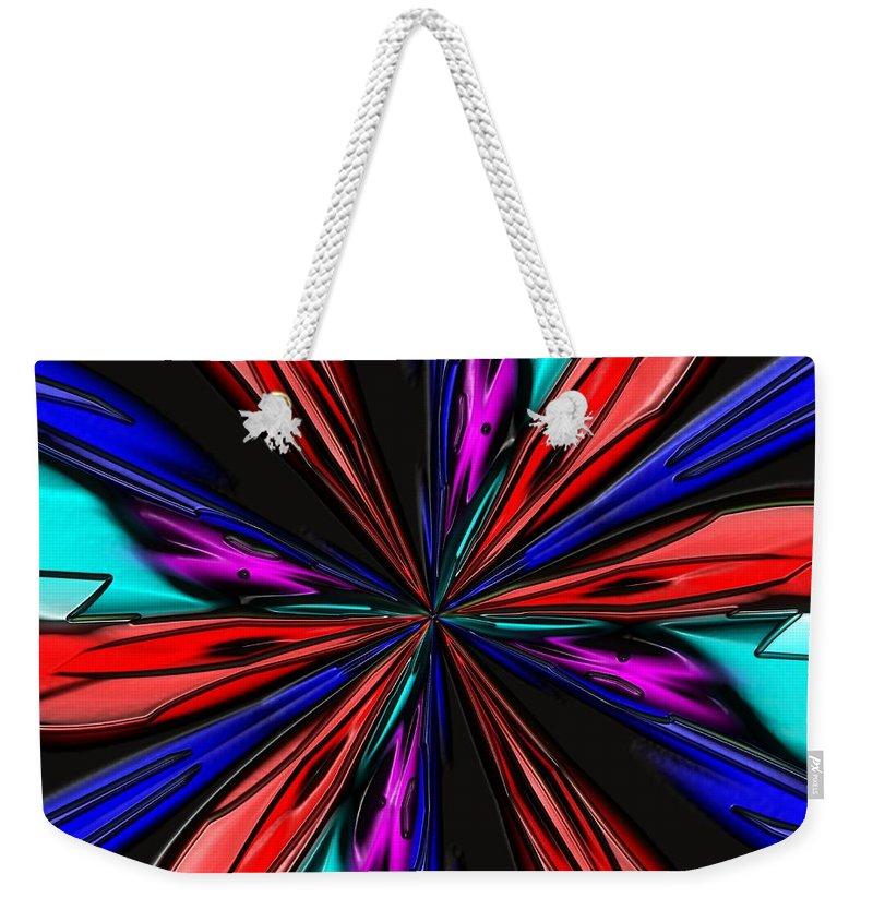 Blue Weekender Tote Bag featuring the digital art Flower Daze Nights by Alec Drake
