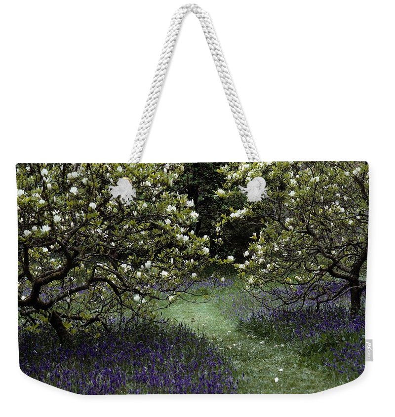 Flowering Fields Weekender Tote Bag featuring the photograph Flowering Trees Amid A Meadow Full by Sam Abell