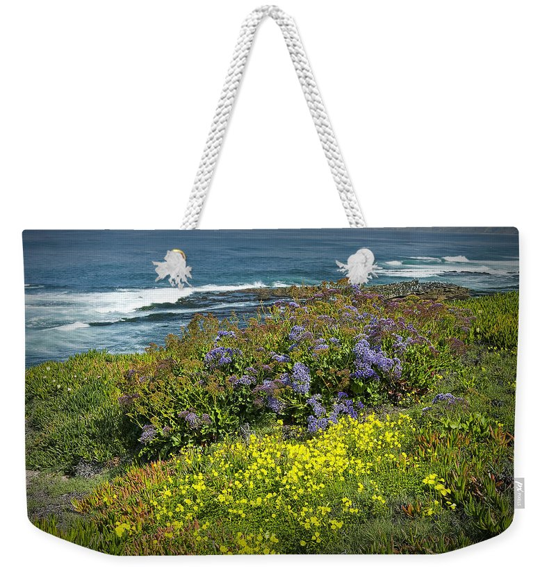 Art Weekender Tote Bag featuring the photograph Flowers Along The Shore At La Jolla California No.0203 by Randall Nyhof