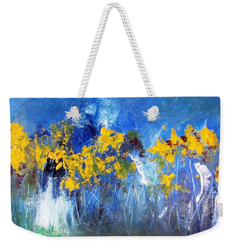 Flowers Weekender Tote Bag featuring the painting Flowers Of Maze In Blue by Gary Smith