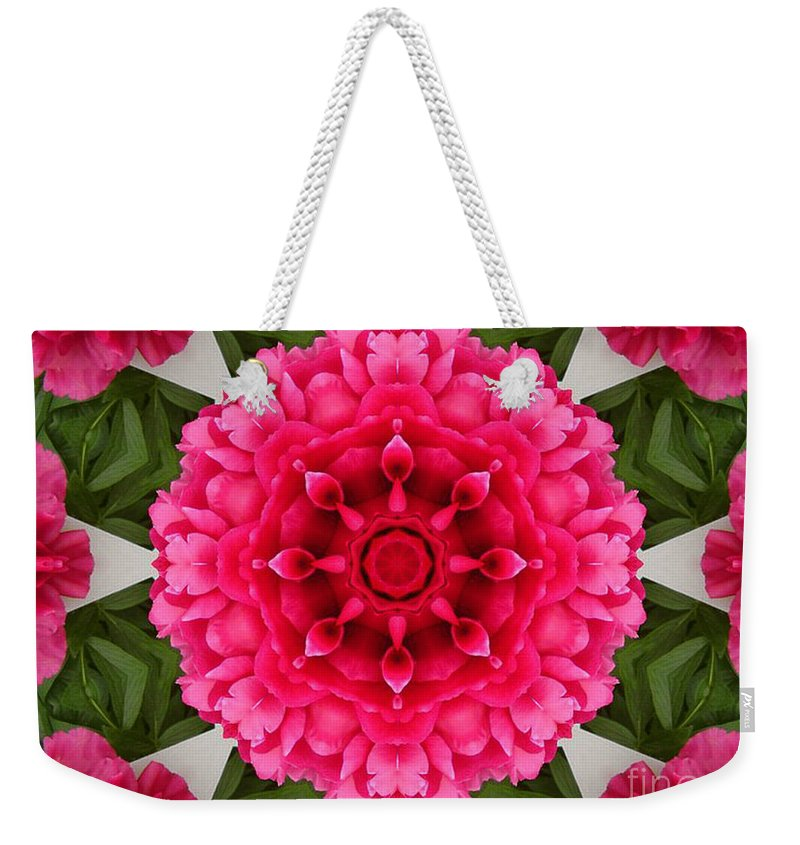 Pink Flowers Weekender Tote Bag featuring the photograph Flowery Creation by Barbara Griffin