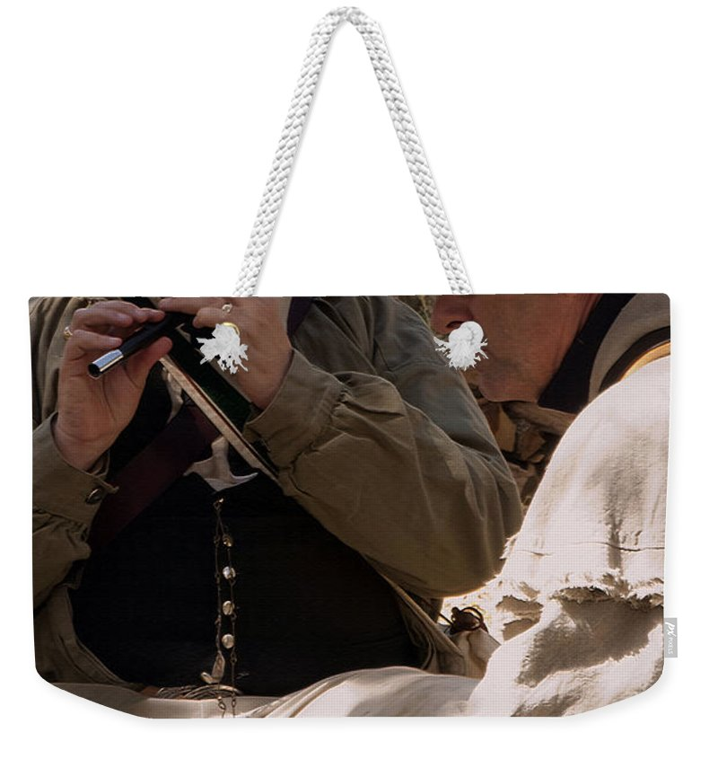 Reenactments Weekender Tote Bag featuring the photograph Flute Melody by Kim Henderson
