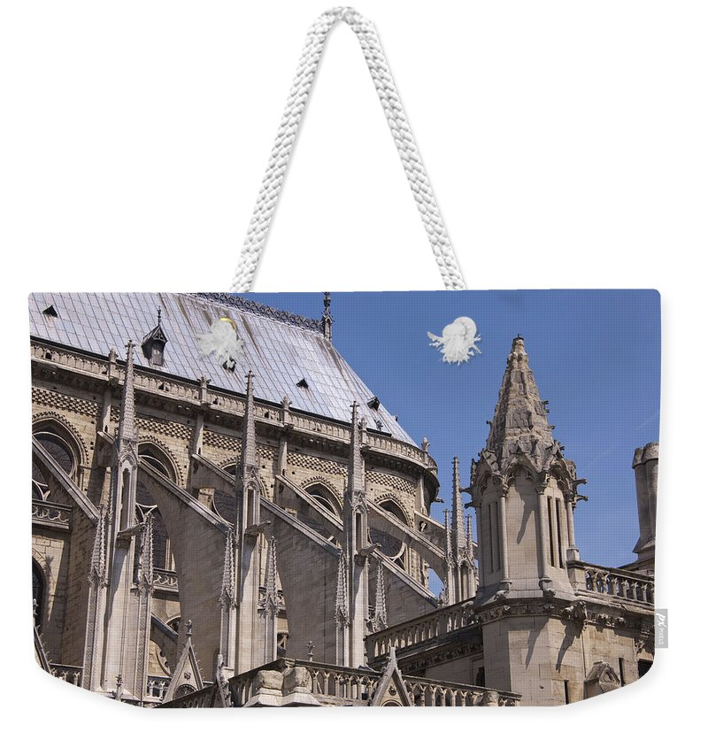 France Weekender Tote Bag featuring the photograph Flying Buttress At Nortre Dame Cathedral by Jon Berghoff