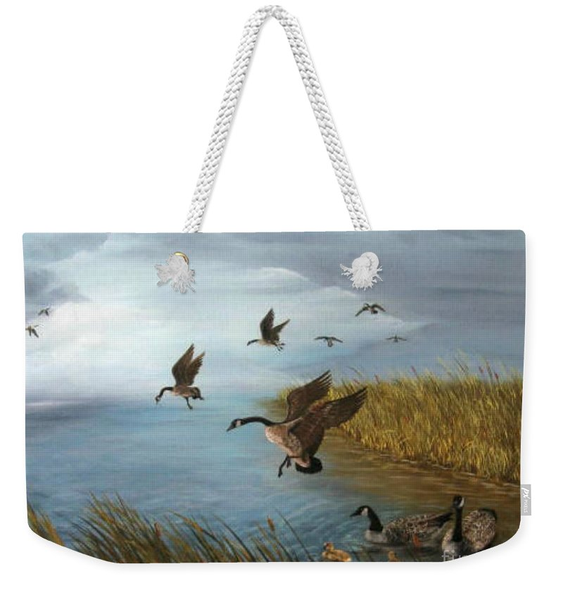 Oil Weekender Tote Bag featuring the painting Flying Geese by Patricia Lang