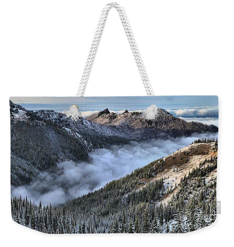 Hurricane Ridge Weekender Tote Bag featuring the photograph Fog Below Hurricane by Adam Jewell