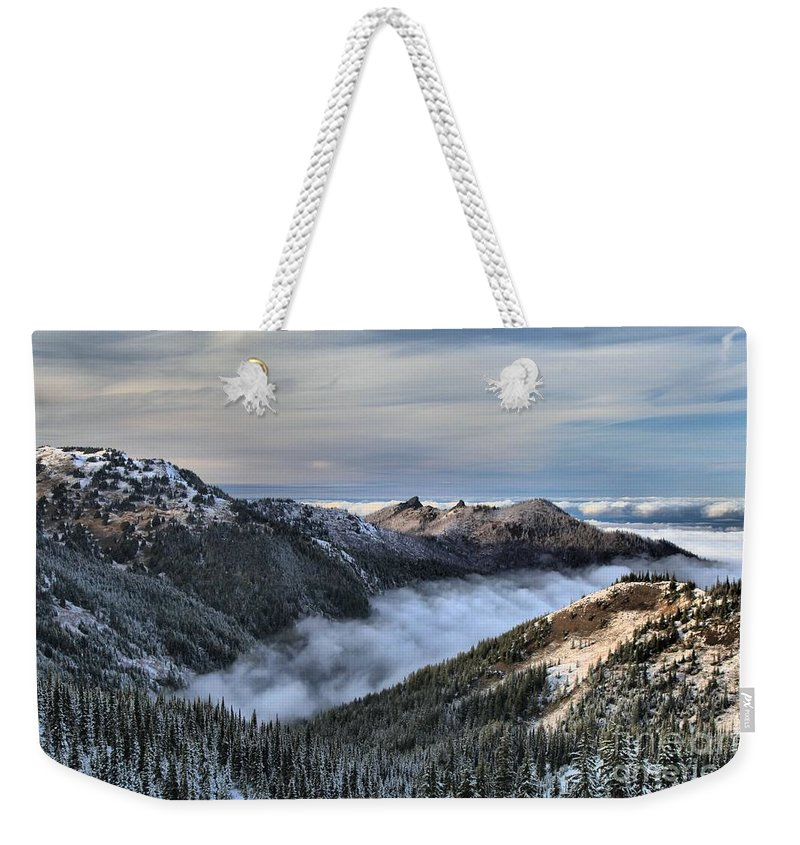 Hurricane Ridge Weekender Tote Bag featuring the photograph Fog In The Valley by Adam Jewell