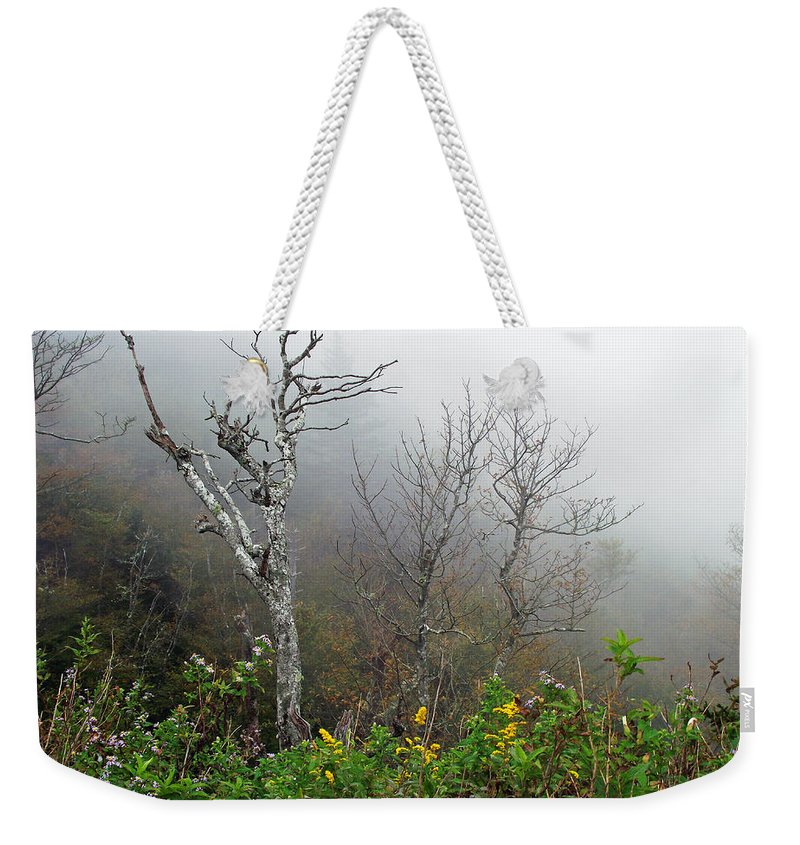 Foggy Weekender Tote Bag featuring the photograph Foggy Day On The Blueridge by Duane McCullough