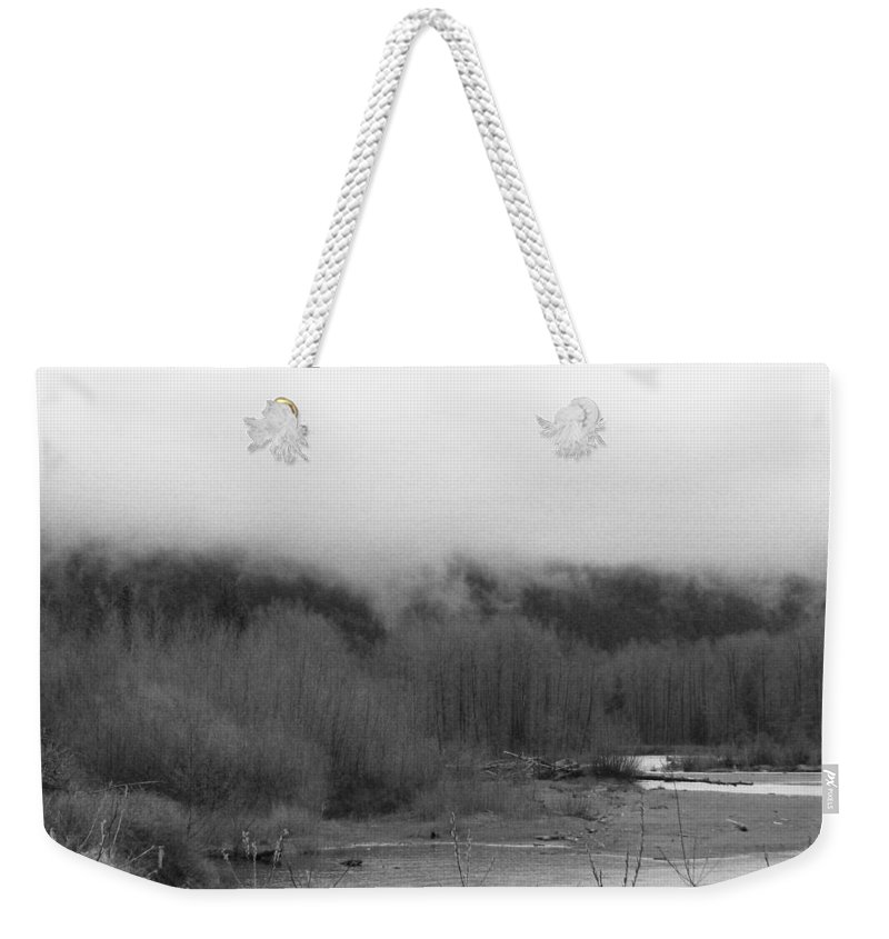 River Weekender Tote Bag featuring the photograph Foggy Down The Mountain by Kathleen Grace