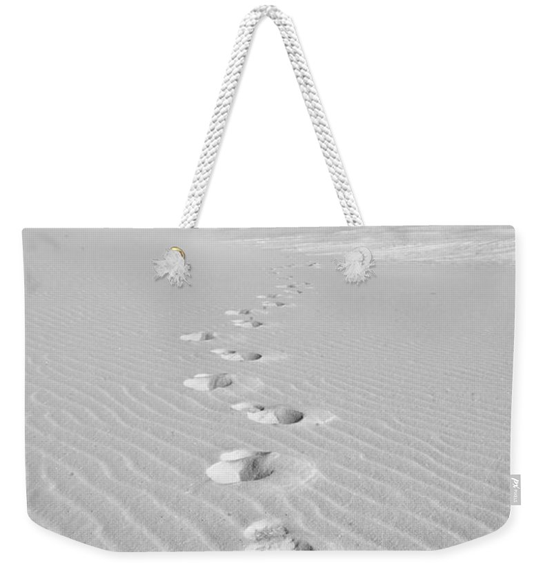 New Mexico Weekender Tote Bag featuring the photograph Foot Prints In White Sands 1 by Sean Wray