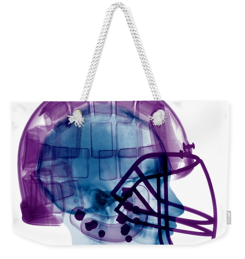 Football Helmet Weekender Tote Bag featuring the photograph Football Helmet X-ray by Ted Kinsman