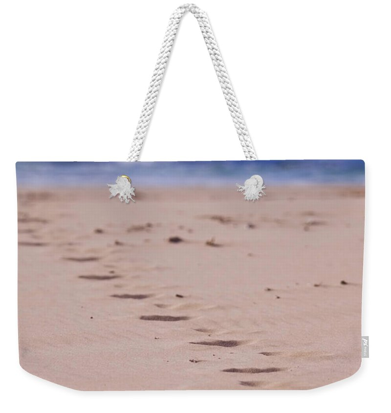 Beach Weekender Tote Bag featuring the photograph Footprints by Michelle Wrighton