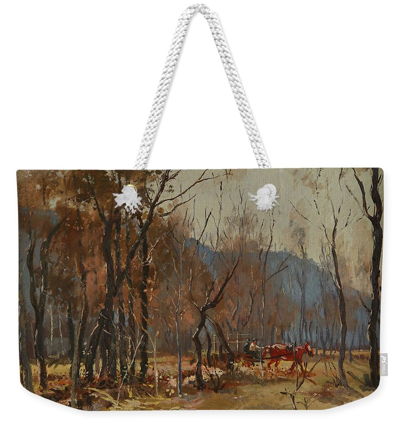 Forest Weekender Tote Bag featuring the painting Forest By Shkumbini River by Ylli Haruni