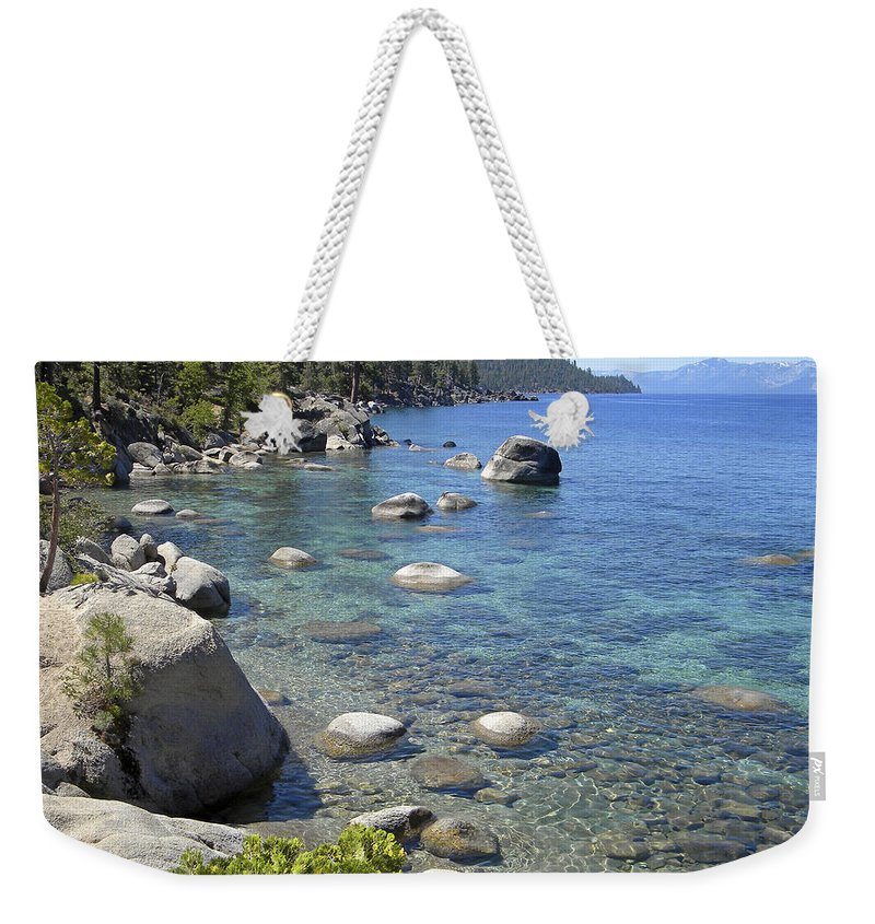 Lake Tahoe Weekender Tote Bag featuring the photograph Forested Shores Of Lake Tahoe by Frank Wilson