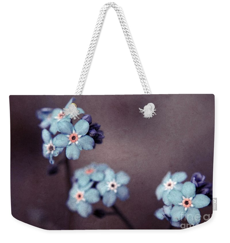 Brown Weekender Tote Bag featuring the photograph Forget Me Not 01 - S05dt01 by Variance Collections