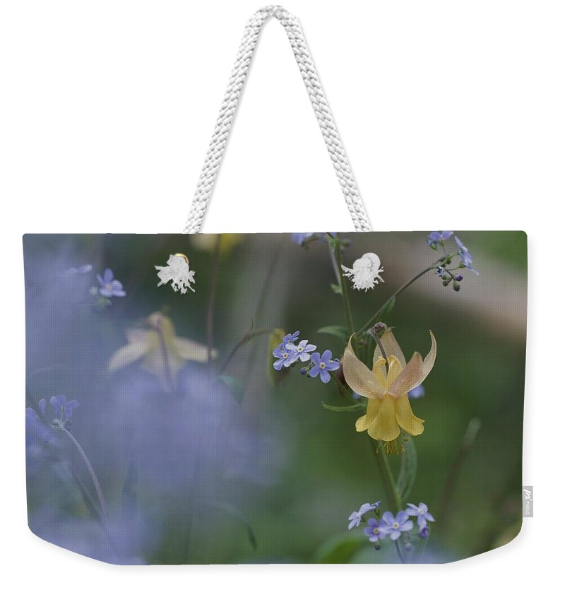 North America Weekender Tote Bag featuring the photograph Forget-me-not And Yellow Columbine by Norbert Rosing