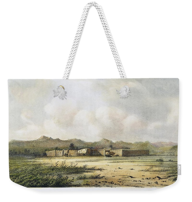 1852 Weekender Tote Bag featuring the photograph Fort Bridger, Wyoming, 1852 by Granger