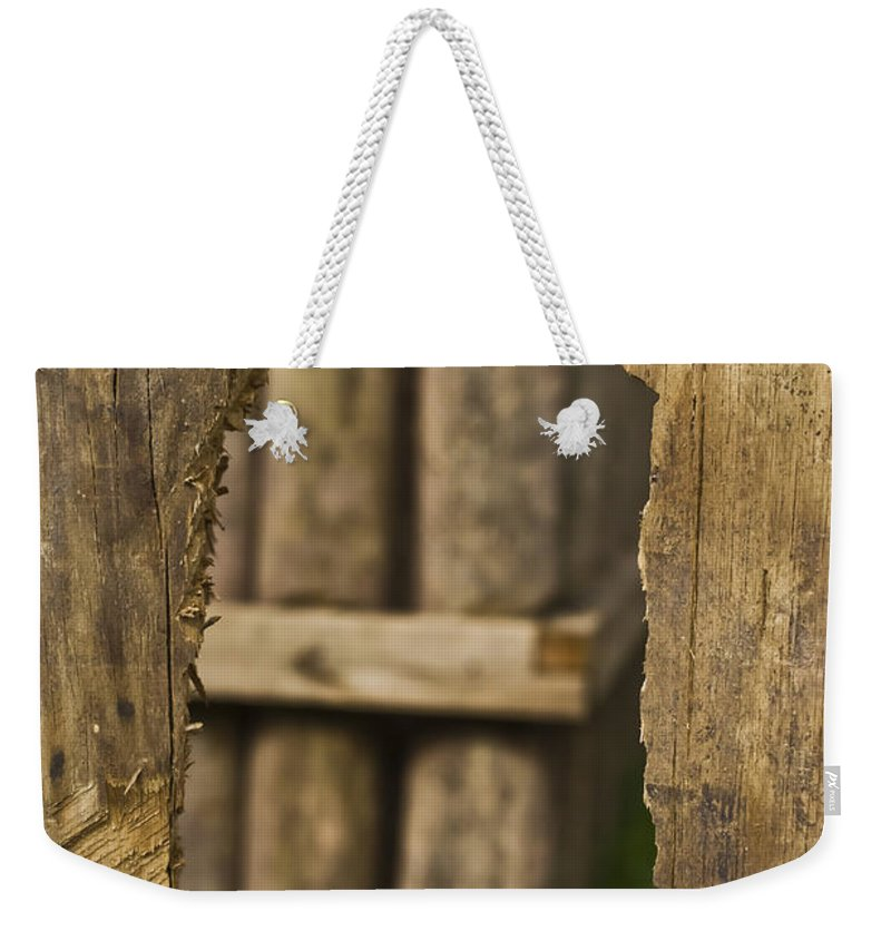 Fort Weekender Tote Bag featuring the mixed media Fort In Layers by Kim Henderson