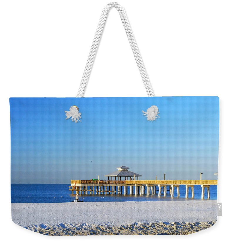 Fort Myers Weekender Tote Bag featuring the photograph Fort Myers Beach Pier by Gary Wonning