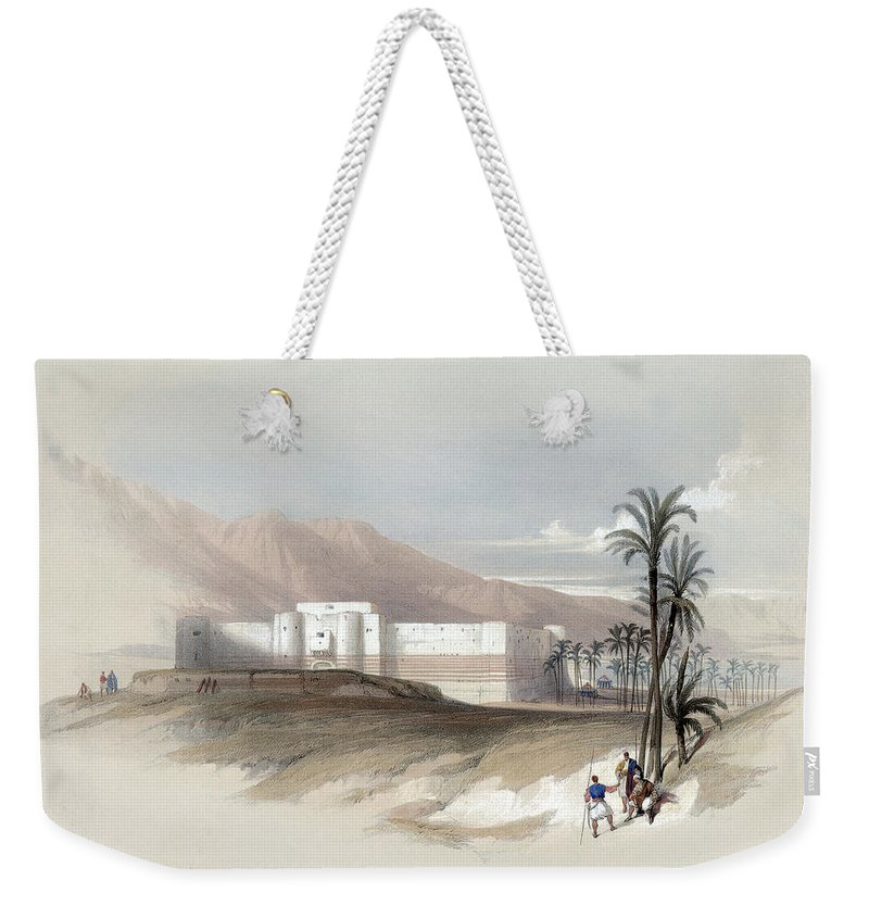 Petra Weekender Tote Bag featuring the photograph Fortress Of Akabah Arabia Petra 1839 by Munir Alawi