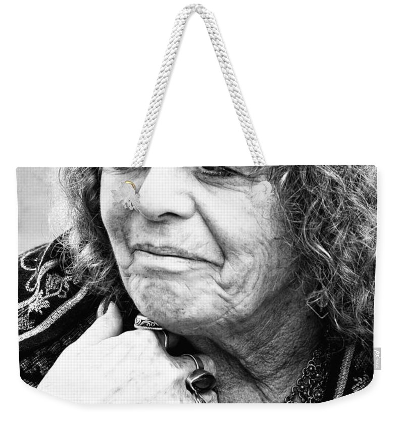 Woman Weekender Tote Bag featuring the photograph Fortune Teller Black And White by Kathleen K Parker