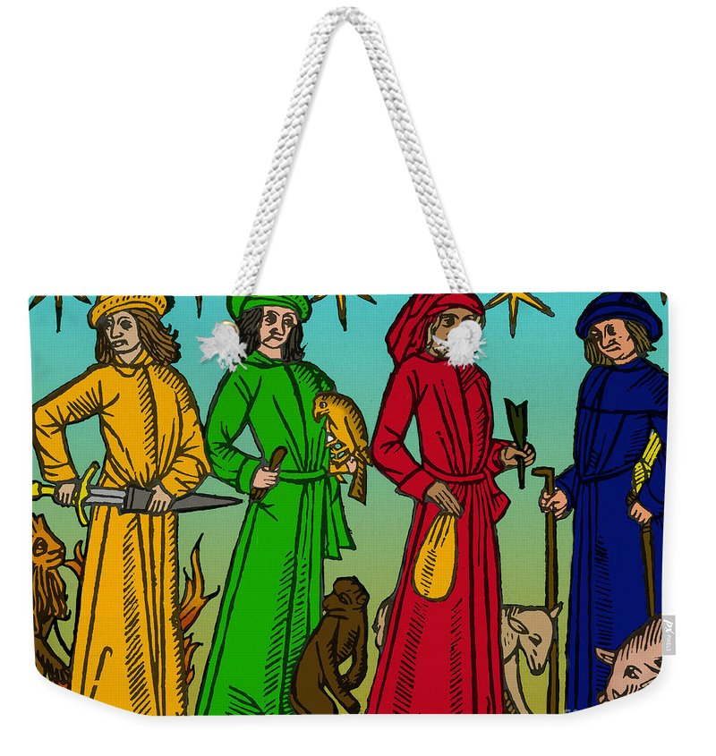 History Weekender Tote Bag featuring the photograph Four Temperaments, Medieval Woodcut by Science Source